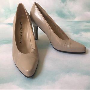 Charles Jourdan Taupe Pointed Toe Heels